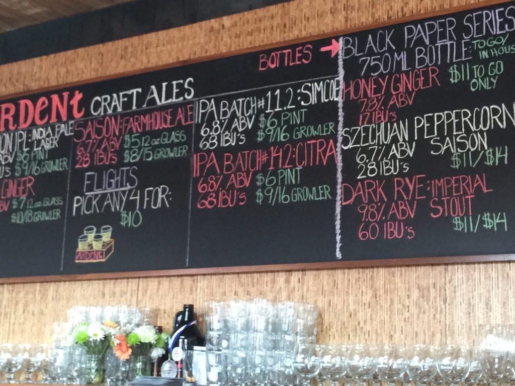 Ardent Craft Ales beer board