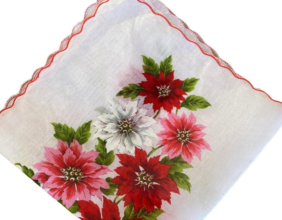 Vintage Poinsettia Handkerchief